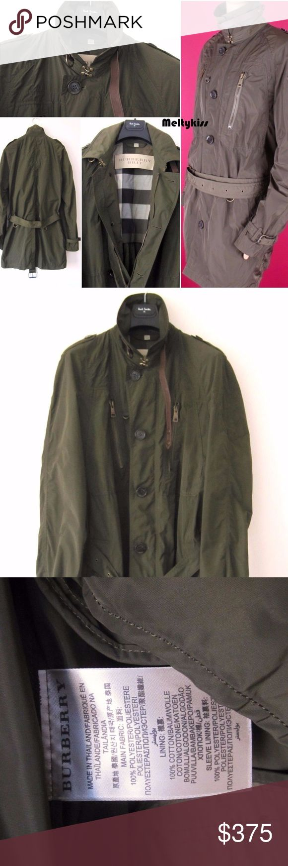 NWOT AUTHENTIC BURBERRY BRIT MEN'S TRENCH COAT Retail Price- $895 Sz- XL(Armpit-24, Length-37.5 inches) Composition-100% Polyester Color-Khaki Green Burberry Jackets & Coats Military & Field