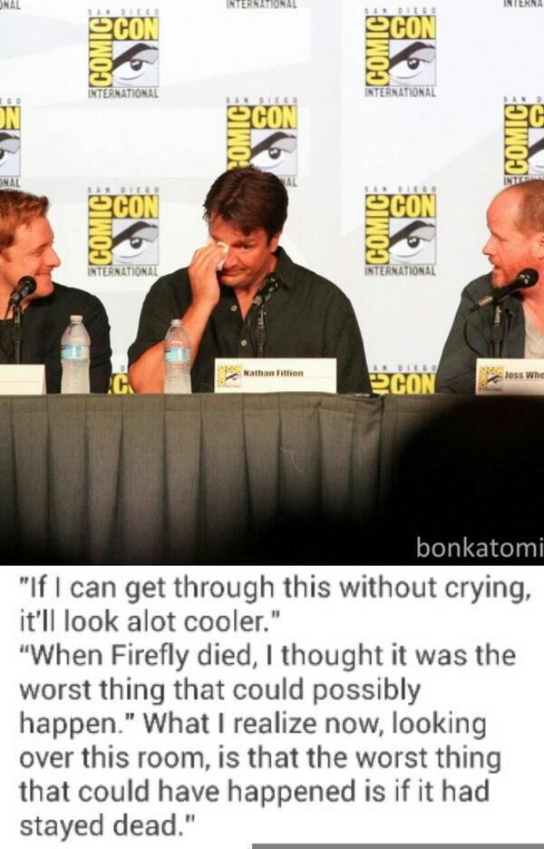 Nathan Fillion at Firefly 10 year reunion. Yes, I watched the whole video and he does indeed say this (though with about 40 minutes between the first line and the rest). :)