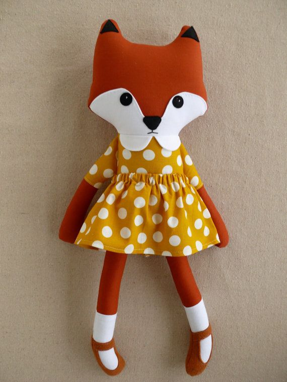 Fabric Doll Rag Doll Red Fox in Yellow Polka Dotted by rovingovine, $37.00