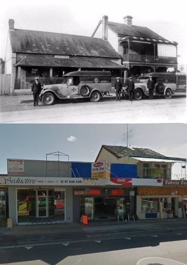 Penrith Ambulance Station on the corner of High and Doonmore Streets, Penrith in 1936 and 2014. [1936 - Penrith City Council>2014 - Google Street View. By Phil Harvey]