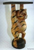 Vintage hand carved and painted wood Quirky Cat ja…