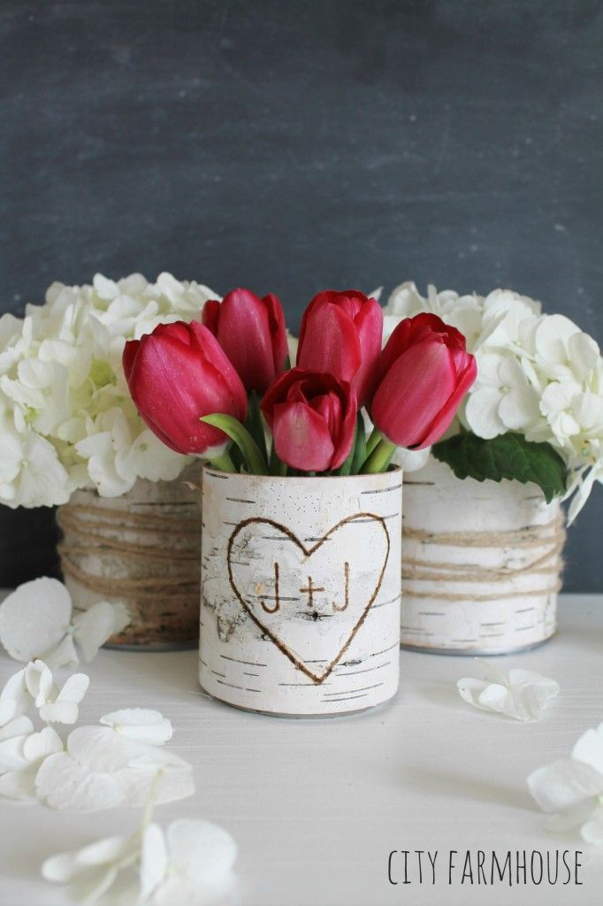 DIY Birch Flower Vases - love this idea for a rustic wedding