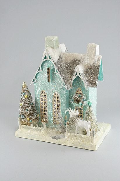 blue glittered house, so cute nice details, could easily make a window that opens
