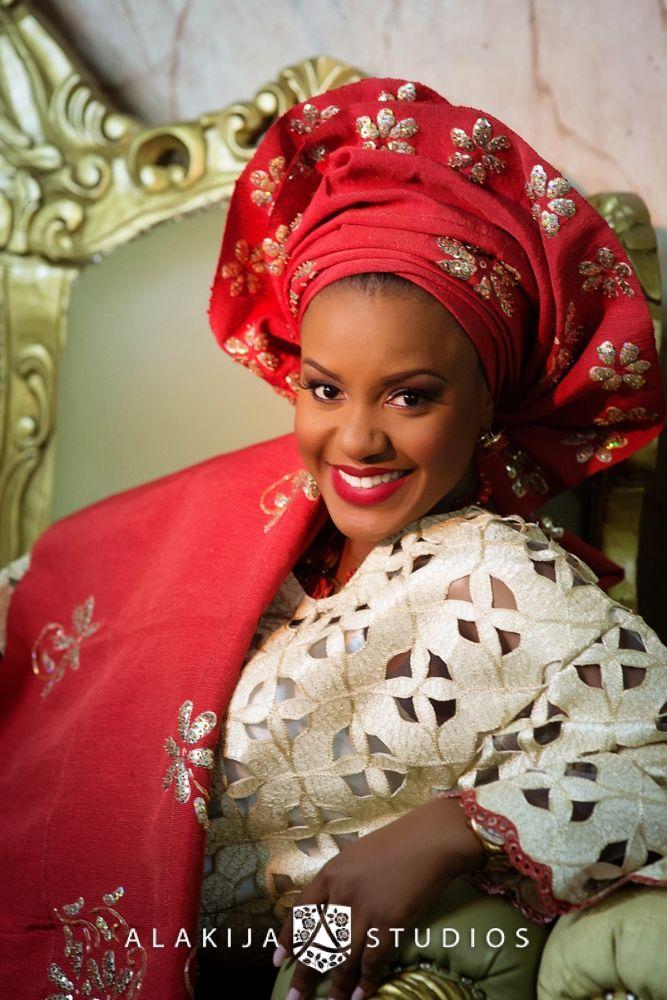 Bella naija photos red nigerian wedding bride gele gold