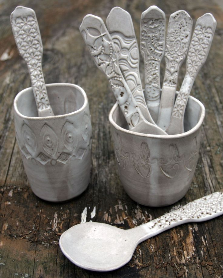 White Stoneware Spoons.  Handbuilt spoons and altered thrown cups.  Mark Strayer - North Star Pottery. 10/2012