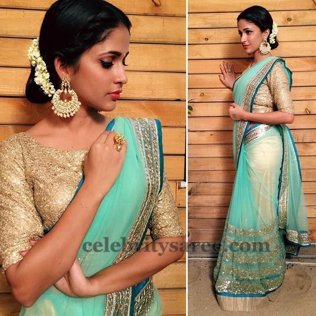 Lavanya Light Blue Net Saree - Saree Blouse Patterns