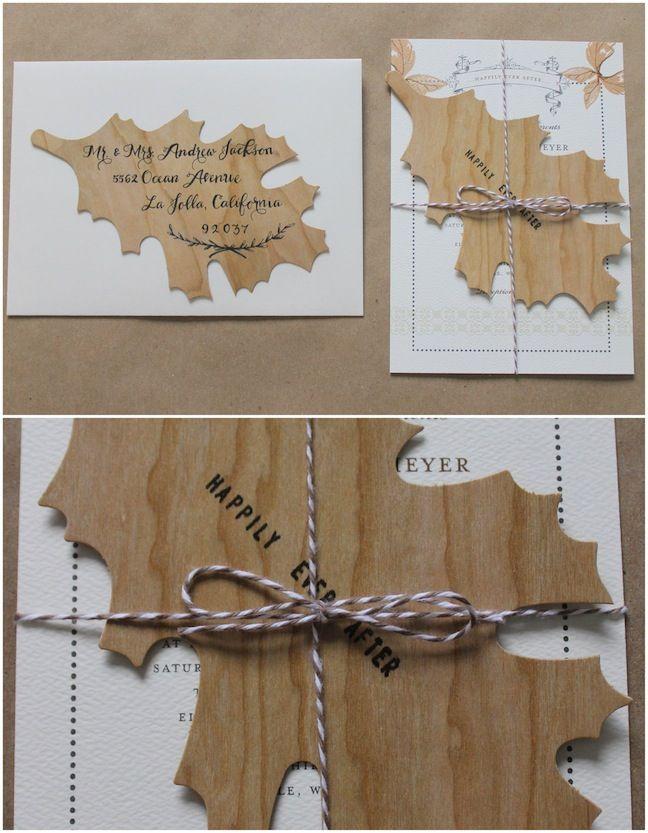 Linen, Lace, & Love: Wedding Paper Divas DIY Additions: Part 2 #linenlaceandlove #diy #invitations #woodleaves #fall #weddingpaperdivas #wedding
