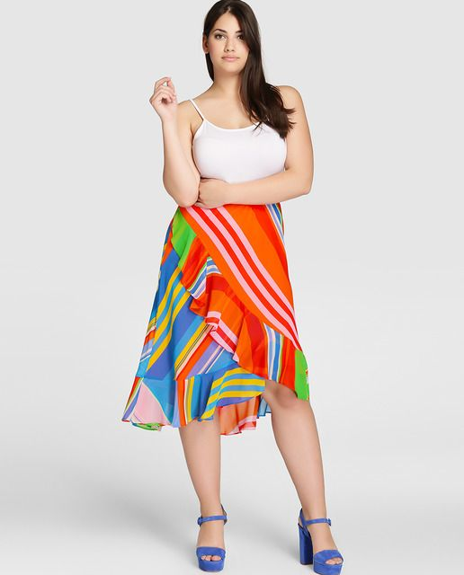 Falda multicolor de mujer talla grande Lauren Woman de tipo pareo
