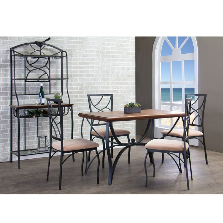 Soft curves and sharp corners intertwine deftly in our Valletta Wood and Metal 5-Piece Transitional Dining Set.