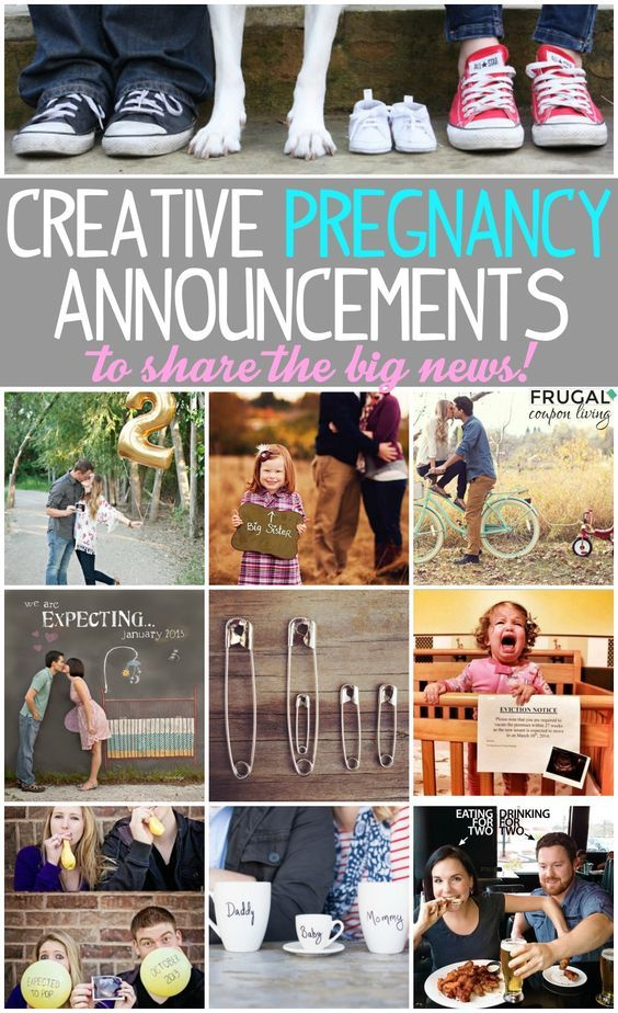 10 Creative Ways Announce Your Pregnancy plus Places to Shop for Maternity Clothes and Tips for the First Trimester on Frugal Coupon Living.