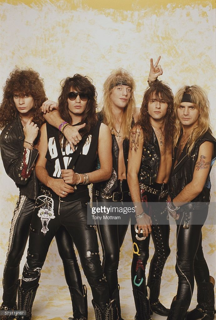 Portrait of American glam rock band Warrant, early 1990s. Pictured are, from left, Steven Sweet, Jerry Dixon, Jani Lane, Erik Turner, and Joel Allen.