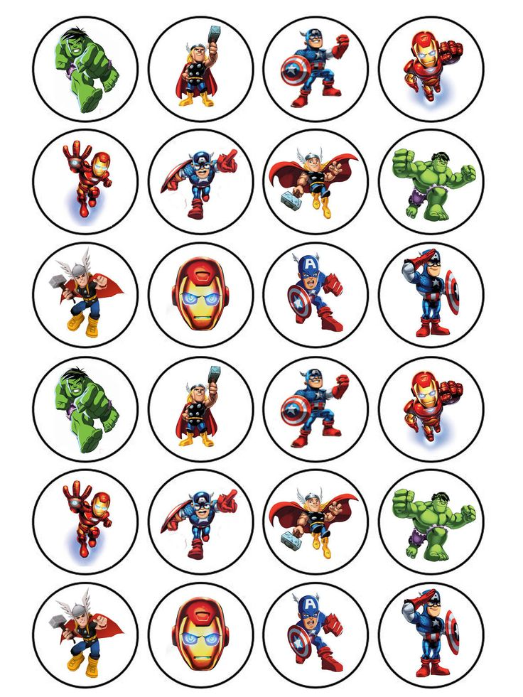 24 x Edible Superhero Squad Avengers Hulk Iron Man Thor Cake Cupcake Toppers | eBay