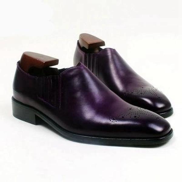 Slip on deep purple - Deluxe Men Shoes  #leather #mensmallsizeshoes #largesizemensshoes #handmade #bespoke #uptosize15 #ankleboots #size15mensboots #menssize5shoes