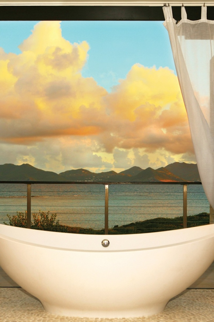 Have your own spa day with this relaxing view.: Rental Bathroom, Modern Bathroom, Bathroom Powder, Beautiful Bathroom, Beautiful Rooms, Anguilla Villas, Bathroom Ideas, Anguilla Rental, Ocean View