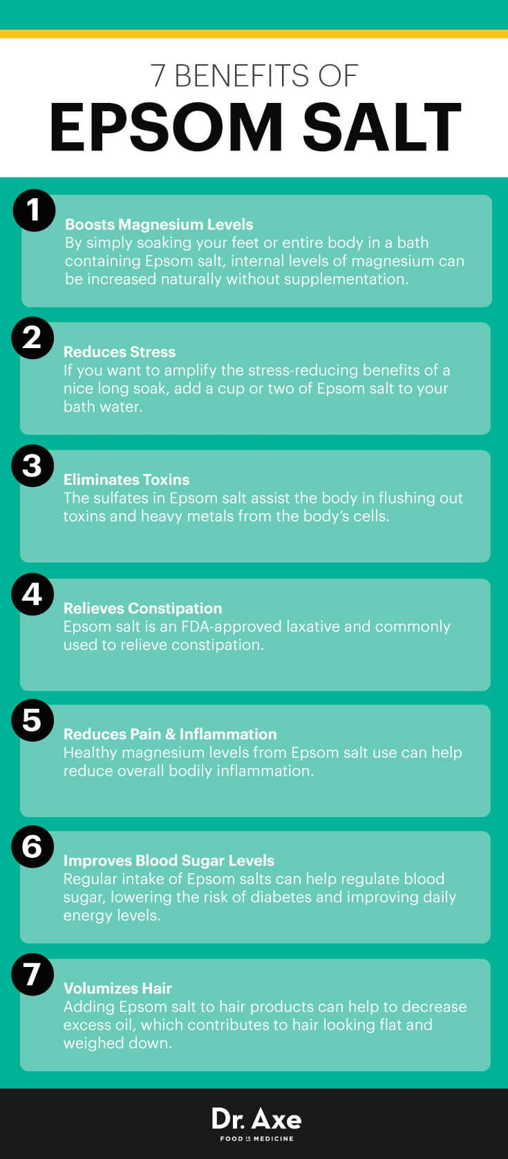 Read it Epsom salt baths are popular for relieving stress, but epsom salt benefits go beyond that. Epsom salt is contains magnesium, relieves pain.