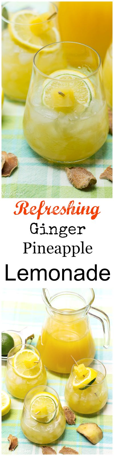 A refreshing lemonade made of ginger syrup, lime, pineapple and lemon juice. A mix of sweet and sour and a little tangy.