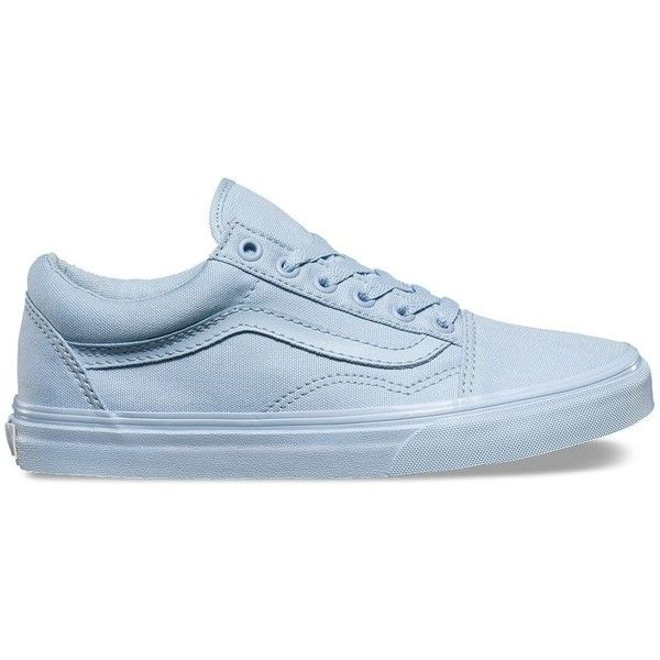 Vans Mono Canvas Old Skool ($55) ❤ liked on Polyvore featuring shoes, sneakers, blue, canvas shoes, canvas lace up shoes, cap toe sneakers, lace up shoes and lace up sneakers