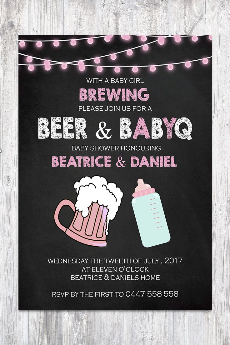 Baby Shower Invitation Pink Chalkboard Girl String lights Beer BabyQ BBQ Co-ed Facebook Event Cover Image