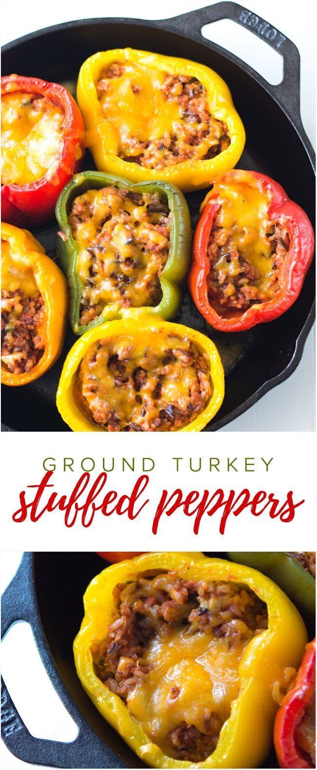 Ground Turkey Stuffed Peppers Recipe - This no-fuss stuffed peppers recipe is the perfect easy family dinner recipe. If you prefer ground beef, it's an easy swap!