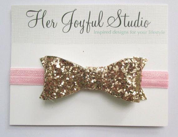 gold glitter headband glitter bow girls by HerJoyfulStudio on Etsy