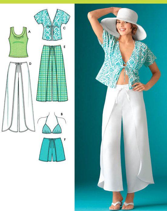 UNA PASADA!  Patrón de costura sin cortar incluye piezas del patrón y las instrucciones para hacer falta abrigo pantalón en dos largos, cortos, kimono tapa, tapa del sujetador y knit top en tamaños 14-16-18-20-22 (28-37 cintura, Busto 36-44; 38-46 caderas).  Tengo cientos de patrones nuevos, fuera de impresión y de la vendimia, así que asegúrese de visitar con frecuencia para ver qué hay de nuevo. Visite los delantales y ropa y otras secciones más patrones y ahorra en envío combinado…