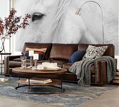 Turner Leather Square Arm Sofa with Nailheads. Saddle. Grand Sofa size. #potterybarn