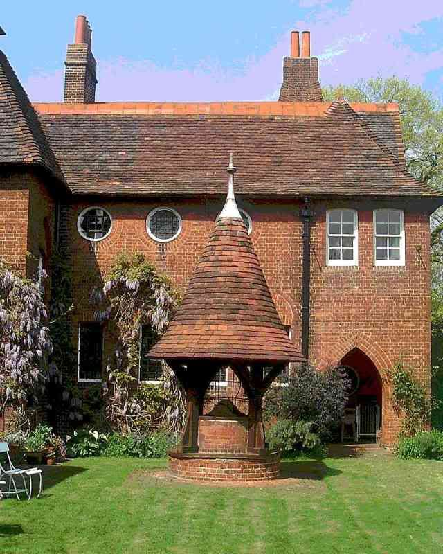 Brick house with adorable well - William Morris's home 'Red House', designed by architect Philip Webb