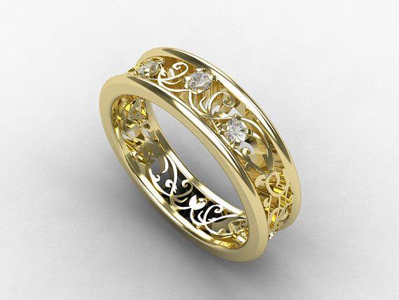 Diamond filigree ring yellow gold wedding band diamond wedding filigree r