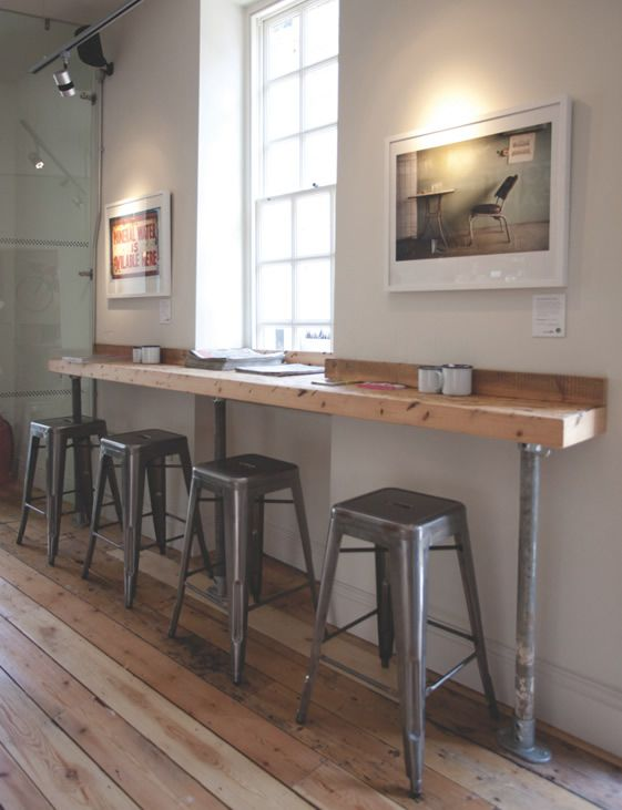 X - Note:    Small profile, close to wall; natural, slightly dark wood; industrial, weathered galvenized pipe supports; simple, industrial, stackable stools; centered in front of window; soft, refinished floor w/irregular stain