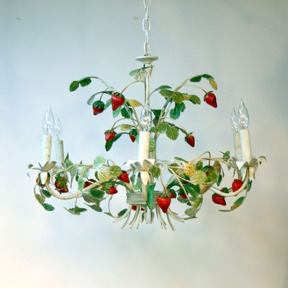 I love this!! Italian Tole Chandelier / Strawberry Chandelier. $258.00, via etsy - sold