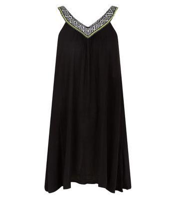 Black Embroidered V Neck Sleeveless Dress