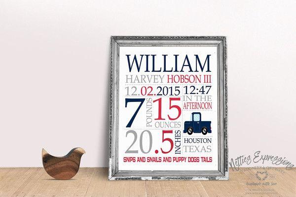 Truck - Baby Boy Stats Style A - 8x10 Art Print