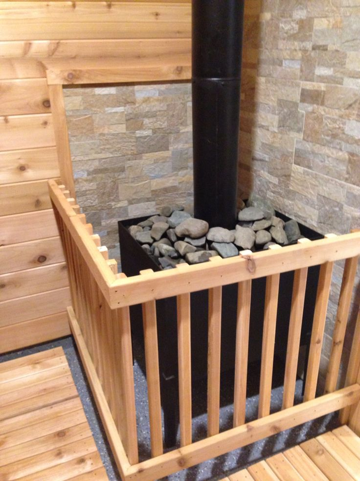 Wood Sauna Stove With Rocks From A Local Farm Field.