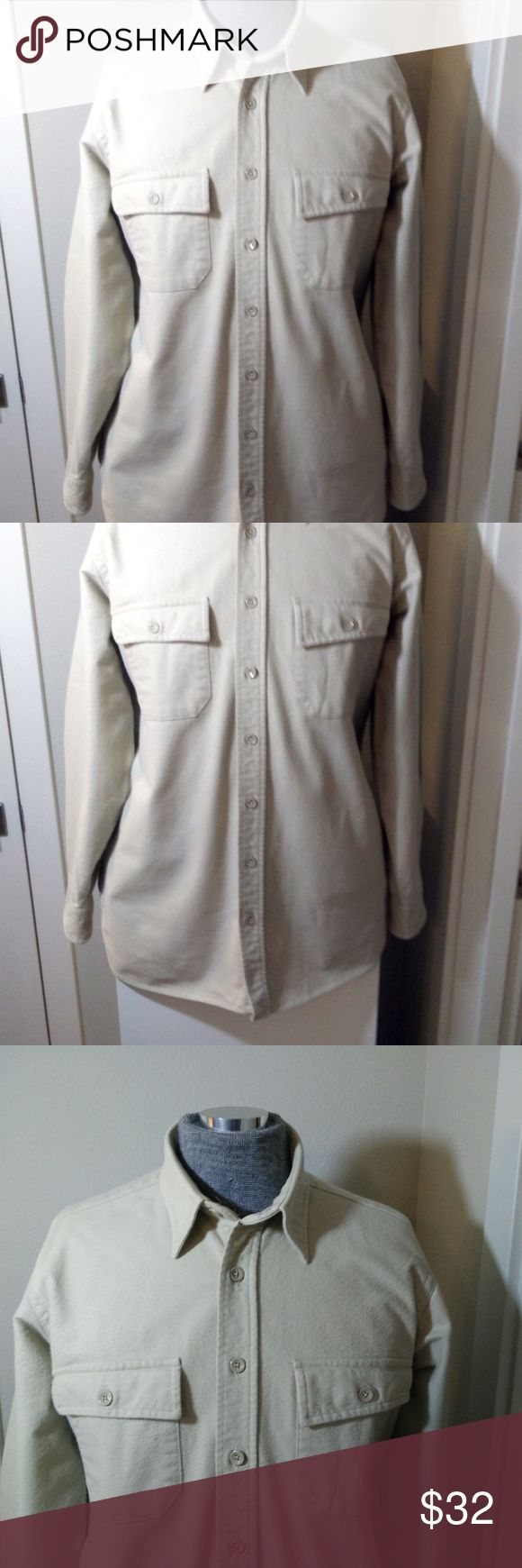 """L.L. Bean Flannel Chamois Shirt Sz Men's Tall 16 Vintage L.L. Bean Flannel Chamois Shirt made USA Size Tall (16) - Beautiful vintage shirt -  100% Cotton -  Beige/Oatmeal Color-  very nice quality and in GOOD overall condition... (ref#2264)  Please check measurements for a good fit.  (Actual Measurements are taken to the best of our ability and are approximate)     Measurements:  Pit to Pit – 24""""  Sleeve (from shoulder Seam) – 24""""  Shoulder (Seam to Seam) - 19.5""""  Length – 32"""" L.L. Bean…"""