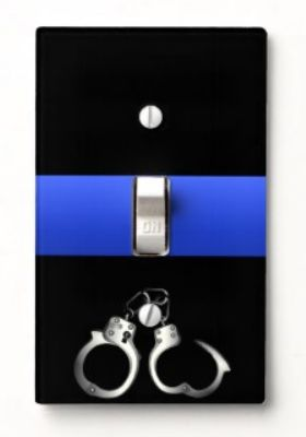 Thin Blue Line Handcuffs Need us to custom design something for you at no extra charge? Visit #ThinBlueLine Graphics http://www.zazzle.com/dimestore* and email us with your idea. If you like this leave a LIKE at our store  (scroll to the bottom of the page and click the like button)
