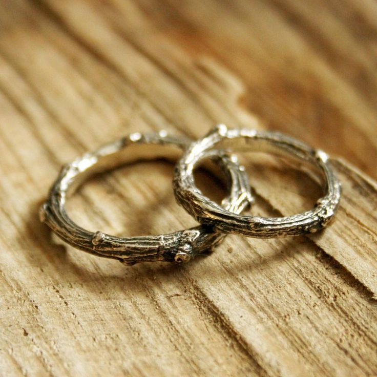Handemade Silver Twig Wedding Rings by Curious Magpie Jewellery £130. Created from actual twigs transformed into solid silver. Every ring is different and one-of-a-kind.