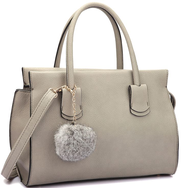 Dasein Faux Leather Handle Satchel Handbag with PomPom
