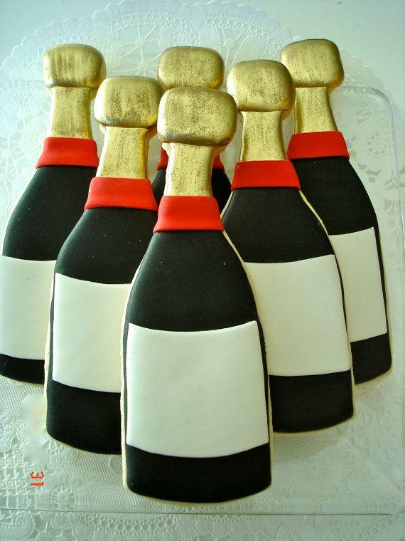 Six blank Wine/champagne bottle sugar cookies by jaynessugarshack, $36.00