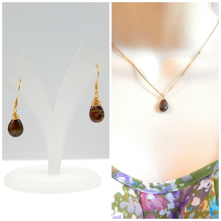 Andalucite Necklace And Earrings Set,Brown Andalucite,Wire Wrapped Gemstones,Gold Filled Necklace And Earrings,Birthday Gift by Kikiburrabeads on Etsy