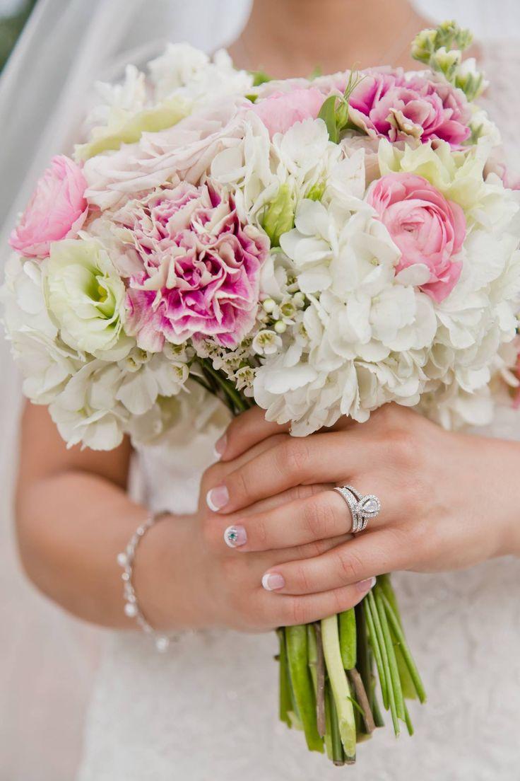 Rose Gold, Biscotti & Mint Wedding- Bridal Bouquet (Antigua Carnations, White Hydrangeas, Seeded Eucalyptus, White Wax Flower, Pink Ranunculus, Green Lisianthus, Quicksand Roses, White Stock & Sweet Eskimo Roses)