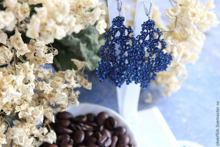 """Купить Кружевные серьги """"Маленькая Агата"""" (темно-синие) - тёмно-синий, серьги, кружево"""