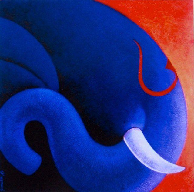 blue ganesh with red tilak :painitng by sunita khedekar www.khedekar.com