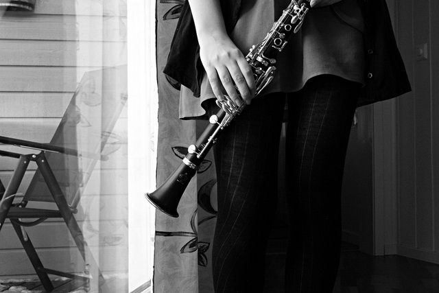I love the black and white with the clarinet!