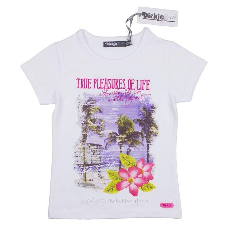 Wit t-shirt van Dirkje uit de collectie Pleasures met grote fotoprint en borduursel.