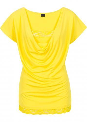 #Bodyflirt damen maglia con pizzo in giallo:  ad Euro 14.99 in #Maglia con pizzo giallo #Donna > moda donna dalla a alla >