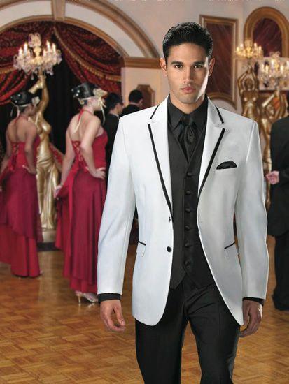 Jean Yves White Savoy Tuxedo With Black Edge [04892] - $339.00 : EZ Tuxedo!, Buy Tuxedos Online & Save