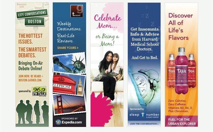 Examples of vertical banner ads.The 2nd form the left banner ad has a great layout. Great gradient, stamps are very effective getting the holiday feeling across. To the point.