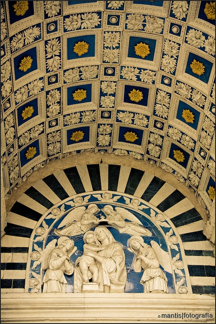 Pistoia, Italy: Lunette of Cathedral with Madonna and Child, glazed terracotta…