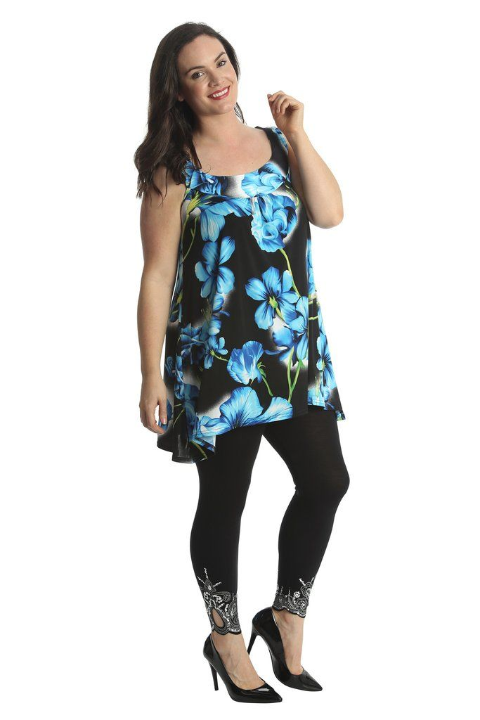 Lovely Loose Floral Print Plus Size Tunic Top - Turquoise