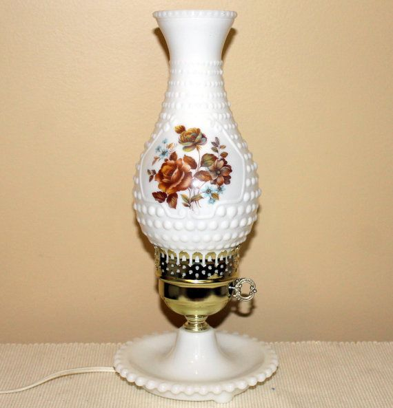 Vintage Milk Glass Hurricane Lamp  Hobnail by MillyCatVintage